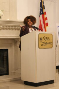 Lisa Rice speaking at LIHS' Fair Housing Act 50th Anniversary gala