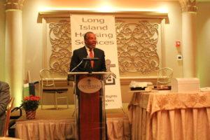 Honoree civil rights attorney Frederick K. Brewington speaks.