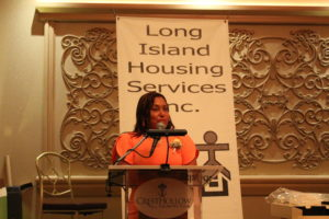 Long Island Housing Services honoree Maxine D. Wilson, PhD. speaking about being a client and activist.